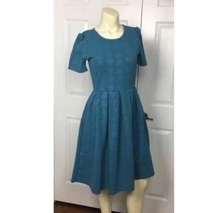 🦄LuLaRoe Amelia Dress Solid Color Blue Small (6-8